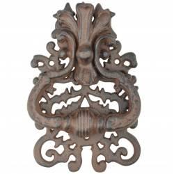 Claque Porte ou Heurtoir Style Cheval en Fonte Patinée Noir 8x8x18cm