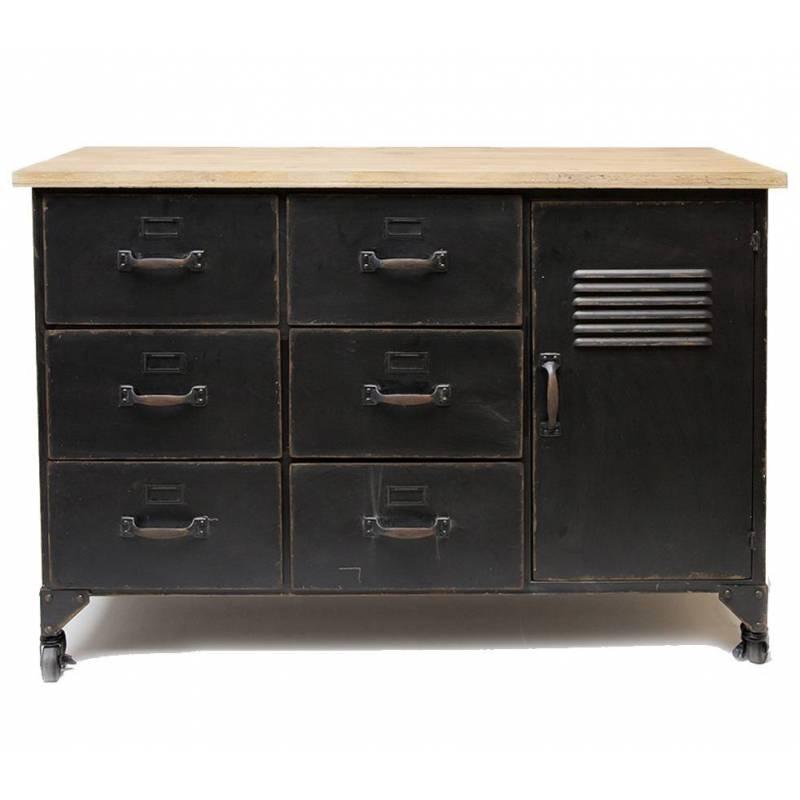 bahut industriel style casier meuble rangement tiroir. Black Bedroom Furniture Sets. Home Design Ideas