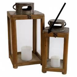 Petite Lampe Tempête Lanterne en Bois et Verre Naturel Photophore Carré Intérieur Extérieur 18x18x37cm