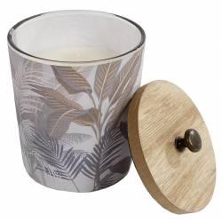 Bougie Blanche dans un Pot en Verre Motifs Jungle Fougère Teintes Claires 9x9x12cm