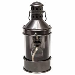 Lampe à Pétrole Lanterne à Poser ou à Suspendre Style Ancien en Fer Couleur Gris Patiné Globe en Verre 12x13,5x28cm