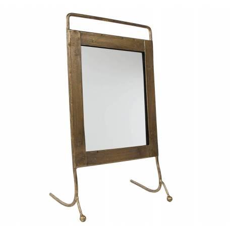 Miroir à Poser Glace Rectangulaire en Acier Verni et Encadrement Laiton 10x17,5x30cm