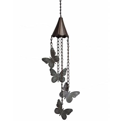 Suspension Cloche ou Décoration Murale Motifs Papillons à Accrocher en Fonte Patinée Marron 10x10x56cm