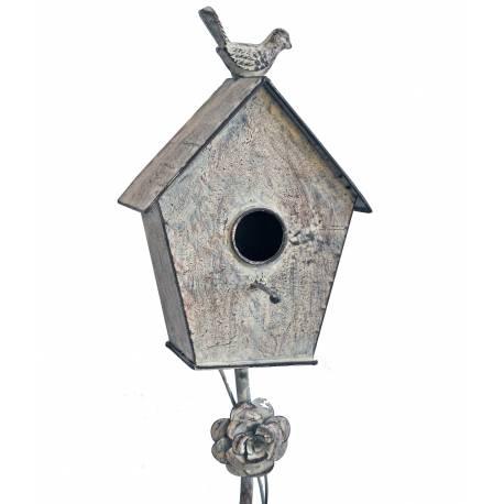 Nichoir à Oiseaux sur Pic ou Maisonnette à Piquer en Fer Patiné Gris 10x16,5x137cm