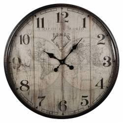 Horloge Murale Vintage Géante Style Ancien Fond MappeMonde Grande Pendule Ronde en Fer Patiné Noir 10,5x80x80cm