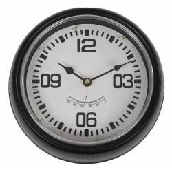 Grande Horloge Ronde Pendule Murale Vintage Industriel en Fer Noir et Verre 6x24,5x24,5cm