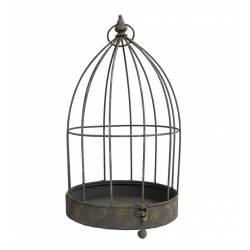 Petite Cage à Oiseaux Photophore Intérieur ou Extérieur Volière Décorative Ronde en Fer Patiné Marron 24,5x24,5x45cm