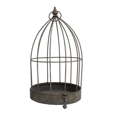 Petite Cage à Oiseaux Photophore Intérieur Ou Extérieur Volière Décorative  Ronde En Fer Patiné Marron 24