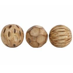 Set de 3 Boules Décoratives Objet de Déco Sculpté en Bois de Manguier Naturel 7x7x7cm