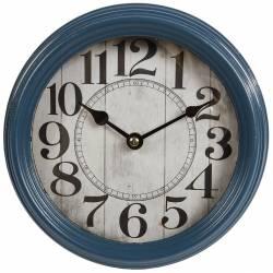 Horloge Ronde Pendule Murale Vintage Style Antique en Fer Bleu et Verre 7x22x22cm