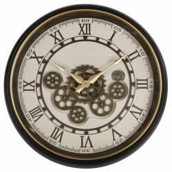 Horloge Ronde Pendule Murale Vintage Engrenages Apparents Style Antique en Fer Noir et Doré et Verre 8x50x50cm