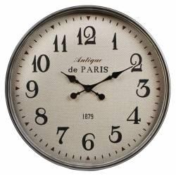 """Horloge Ronde Pendule Murale Vintage Inscription """"Antique de Paris"""" en Fer Noir et Verre 6x60x60cm"""