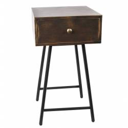 Table de Chevet Guéridon Console Desserte de Rangement Table de Nuit en Fer sur Pieds Fuselés Noirs 35x35x65cm