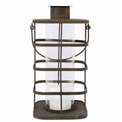 Lanterne à Poser ou à Suspendre Style Ancien Porte Bougie en Fer Patiné Marron Rouille Globe en Verre 21,5x21,5x43cm
