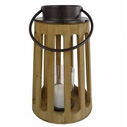 Lanterne Décorative cylindrique Lampion Anse en Cuir Bougeoir à Suspendre ou à Poser en Bois Naturel et Globe en Verre23x23x48cm