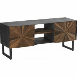 Meuble TV Morzine Hanjel Console d'Appoint Salon 2 Placards 2 Etagères Industrielle en Bois Brut et Acier Noir 40x55x130cm
