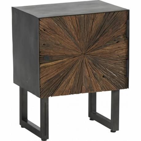 Chevet Morzine Hanjel Console d'Appoint Table de Nuit 1 Placard Industrielle en Bois Brut et Acier Noir 33x45x55cm