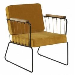 Fauteuil Lounge Mendra Hanjel Siège de Salon Vintage Tendance Moutarde 62x76x77cm