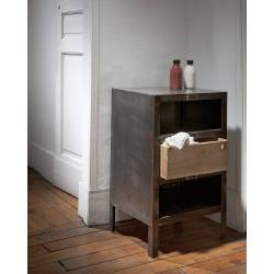 Console Brooklyn Compact Guibox Commode d'Appoint 3 Tiroirs Industrielle Sellette Salon en Acier Recyclé 41x43x70cm