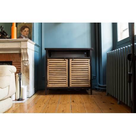 Captivant Buffet Cap Code Guibox Bahut Industriel Placard Salon En Bois De Manguier  Et Acier Noir 35x85x85cm