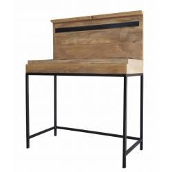 Bureau Double Zéro Pupitre Guibox Console d'Appoint Industrielle Chambre en Bois de Manguier et Acier 42,5x78x90cm