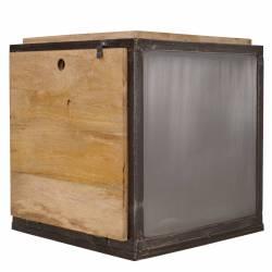 Guéridon Coffre Ice Cube Guibox Console d'Appoint Bout de Canapé en Acier et Bois de Manguier 45x45x45cm