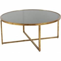 Table Basse Ronde Nordy Marque Hanjel Console Table d'Appoint en Verre et Acier Doré 41x93x93cm