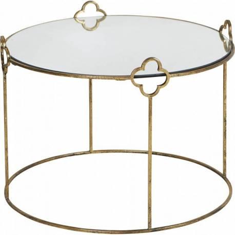 Table Basse Ronde Cleef Marque Hanjel Motifs Fleurs Console Table d'Appoint en Verre et Acier Doré 50x61x61cm