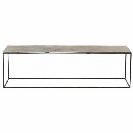 Table Basse Ibiza Hanjel Console Tablette de Salon Forme Rectangulaire  Acier Noir et Fonte D\'Aluminium Laiton 40x40x140cm