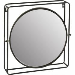 Miroir Mural Orientable Hanjel Industriel à Poser Glace Ronde à Fixer en Acier Vernis Noir 10,5x55x55cm