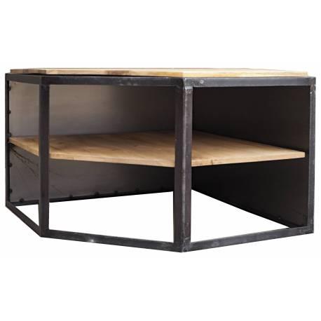 Meuble Tv D Angle Ice Cube Guibox Console D Appoint 2 Etageres Salon En Acier Et Bois De Manguier 45x75x75cm