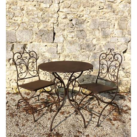 Salon de Jardin Rond 2 Personnes Salon de The Bistrot 1 Table 2 Chaises en Fer Marron