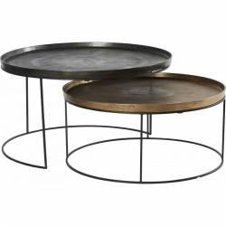 Lot de 2 Tables Basses Zurick Hanjel Consoles Dessertes Gigognes Rondes en Fonte d'Aluminium Laiton et Gris