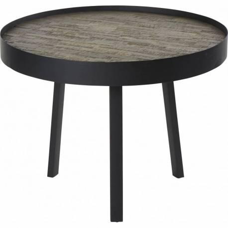 Table Basse Nagoya Hanjel Console Tablette de Salon Forme Ronde en Acier  Noir et Teck Naturel 34x74x74cm
