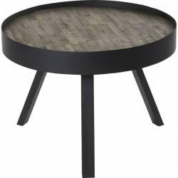 Table Basse Nagoya Hanjel Console Tablette de Salon Forme Ronde en Acier Noir et Teck Naturel 42x58x58cm