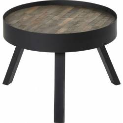 Table Basse Nagoya Hanjel Console Tablette de Salon Forme Ronde en Acier Noir et Teck Naturel 52x45x45cm