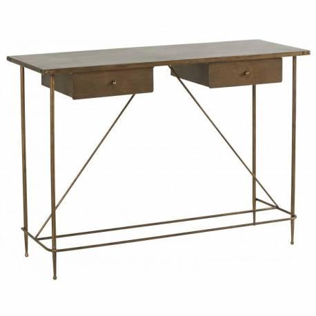 Bureau Rivoli Marque Hanjel Console Secretaire Style Industriel En Metal Patine Laiton 41x78x111cm