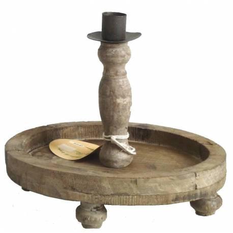 Set de 2 Chandeliers 1 Feu de Table à Poser ou Candélabre 1 Bougie Style Rustique en Fer et Bois Patiné Marron 16x20x22cm