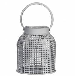 Lanterne Métallique à Poser Lampe Tempête Luminaire à Bougie Bougeoir en Acier Patiné Blanc 12x12x22cm