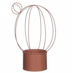 Jardinière Cache Pot de Fleur Buis Topiaire Intérieur Extérieur Forme Cactus Ovale en Fer Patiné Rose Saumon 23x23x35cm