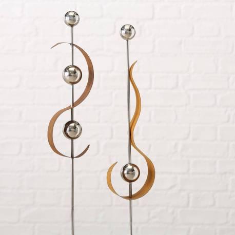Tuteur à Piquer Décoration de Jardin Tiges Rouillées et Boules Chromées Décoratives en Fer Oxydé Rouille 5x15x117cm