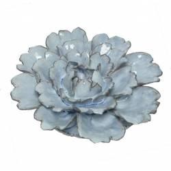 Jolie Fleur Motif Rose Décoration à Poser Représentation Florale en Céramique Patinée Bleue 5,5x18x18cm