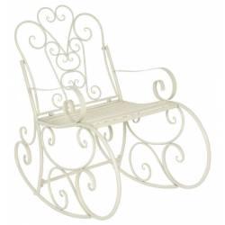 Rocking Chair Chaise à Volutes Fauteuil de Jardin a Bascule Intérieur Extérieur en Fer Patiné Blanc 62x96x102cm