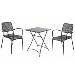Salon de Jardin Salon de Thé 2 Places Personnes Table Bistrot et 2 Chaises en Fer Patiné et Peinture Epoxy Noir