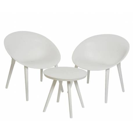 Salon de Jardin Moderne Salon de Thé 2 Places Personnes Contemporain Table  Bistrot et 2 Chaises en PVC Blanc