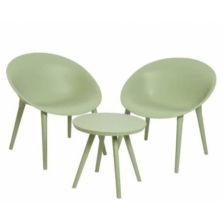 Table De Jardin Moderne.Salon De Jardin Moderne Salon De The 2 Places Personnes Contemporain Table Bistrot Et 2 Chaises En Pvc Vert