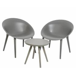 Salon de Jardin Moderne Salon de Thé 2 Places Personnes Contemporain Table Bistrot et 2 Chaises en PVC Gris