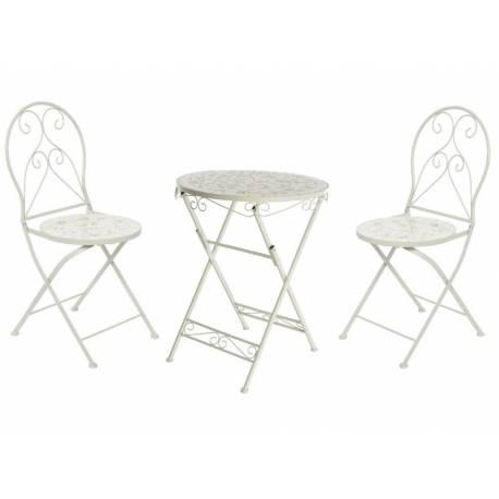 Salon de Jardin Salon de Thé 2 Places Personnes Table Bistrot et 2 Chaises  Pliantes en Fer Patiné Blanc et Céramique
