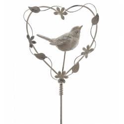 Tuteur à Plantes ou Pic de Jardin Motif Coeur et Oiseaux à Planter en Fer Patiné Blanc 3x16x86cm