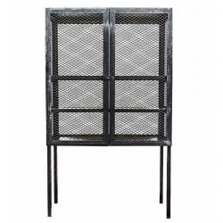 Grand Vaisselier Salon Bebop Guibox Meuble Etagère Haute Rectangulaire Design Industriel Vintage en Métal Noir 40x70x200cm